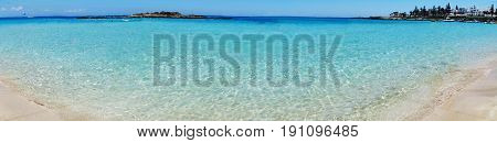 panorama of sandy beach coast in the mediterranean sea landscape on Cyprus island