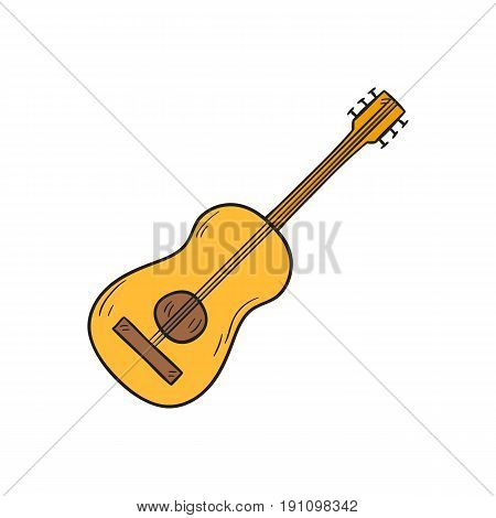Vector cartoon illustration with hand drawn isolated Hawaiian guitar on white background. Musical instrument icon. Vector Hawaiian music hand drawn background