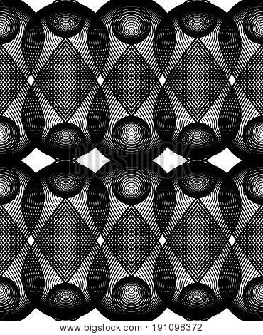 Black and white illusive abstract seamless pattern with overlapping shapes. Vector symmetric transparent backdrop.