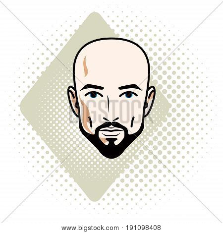 Vector illustration of handsome hairless male face with mustache and beard positive face features clipart.