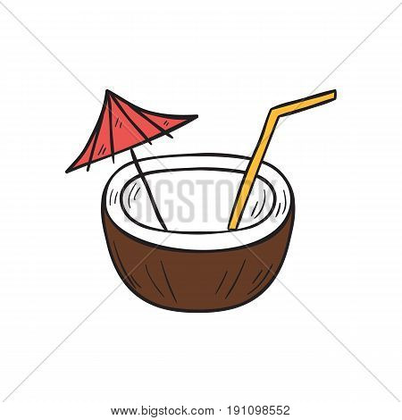 Vector cartoon illustration with hand drawn isolated coconut cocktail on white background. Tropical exotic fruit. Fresh healthy natural sweet cocktail. Vector coconut milk. Hand drawn vacation icon