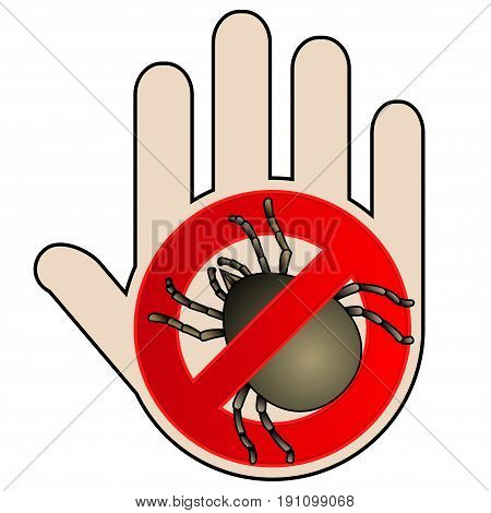 Tick parasite warning sign. Caution acarus. Mite allergy. Epidemic. Human mite parasite. Mite parasites. No Icon with hand. Mite warning sign. Vector illustration