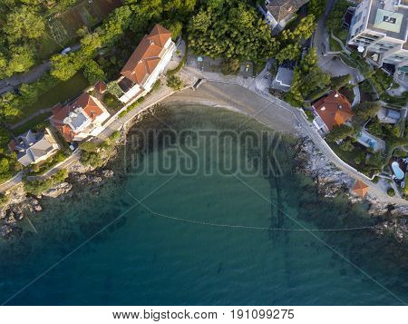 Aerial view of Crystal clear Water at Volosko Beach in Opatija Mediterranean Croatia