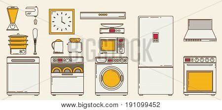 Flat icons for kitchen appliances. Set of gray flat icons with household appliances for kitchen on blue background.