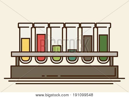 five multicolor test tubes with liquid in rack.