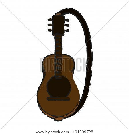 acoustic guitar with strap  icon image vector illustration design  sketch style