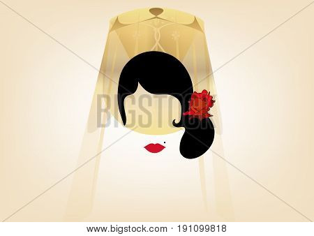 Portrait of modern Latin or Spanish woman, Lady with veil and accessories peineta and red rose , dancer flamenco . Icon isolated, Vector illustration transparent background