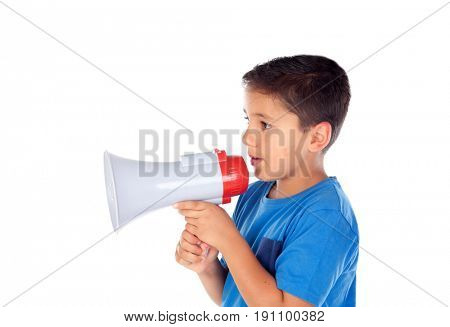 Child shouting through a megaphone isolated on white background