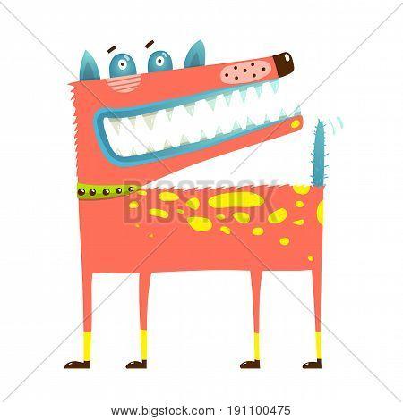Cartoon animal illustration of fun puppy with teeth smirk. Vector Illustration.