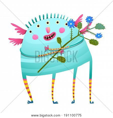 Fun creature with bunch of flowers for kids. Vector cartoon.