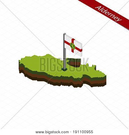 Alderney Isometric Map And Flag. Vector Illustration.
