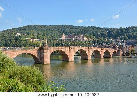 The Heidelberg castle and Carl Theodor bridge in the sun