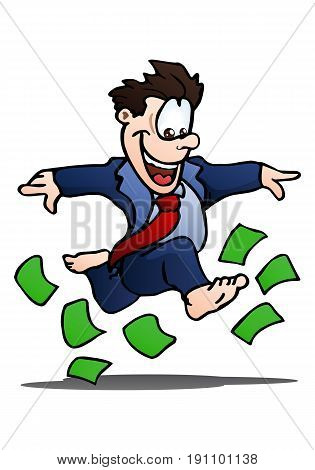 illustration of a happy businessman running on top of money over isolated white background