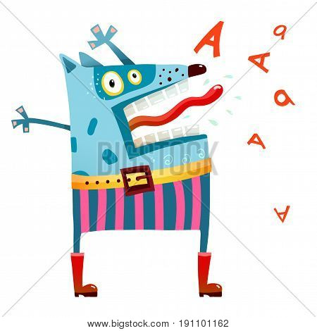 Shouting animal freak in clothes cartoon. Vector illustration.