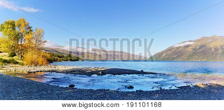 Panoramic image of beautiful Lake Wakatipu South Island of New Zealand