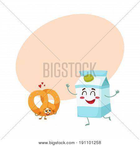 Hot crispy German pretzel and milk box characters, best breakfast combination, cartoon vector illustration with space for text. Crispy pretzel and milk box characters with smiling faces