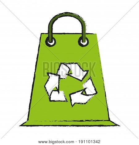 shopping bag eco freindly related icon image vector illustration design  sketch style