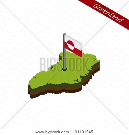 Greenland Isometric Map And Flag. Vector Illustration.