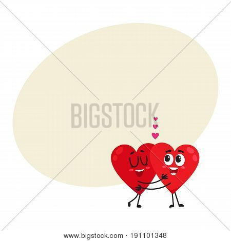 Two hearts hugging, embracing each other, couple in love concept, cartoon vector illustration with space for text. Funny couple of hearts hugging, eternal love concept, Valentine day