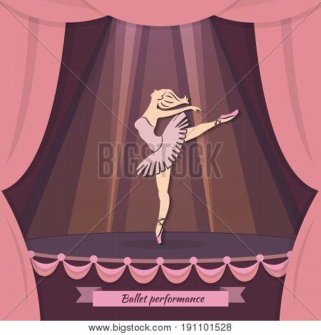 Ballerina in dance. Ballet vector background perfect for ballet school or studio, dance studio, performance. Flyer, brochure, invitation, ticket, poster design in modern flat style.