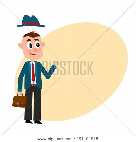 Funny businessman in business suit and removable hat, holding briefcase, showing okay sign, cartoon vector illustration with space for text. Funny cartoon businessman with briefcase and removable hat
