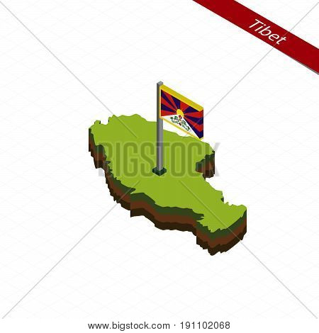 Tibet Isometric Map And Flag. Vector Illustration.