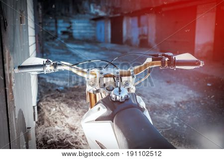 Motorcycle rudder cross country bike. View from the driver.
