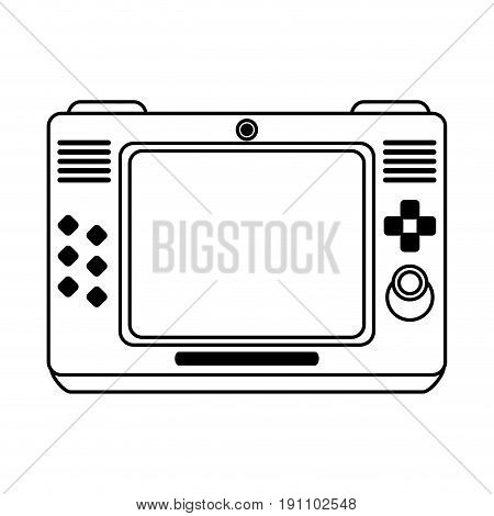 arcade screen with buttons and joystick videogames related icon image vector illustration design  black line