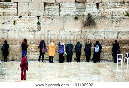 Jerusalem Israel - March 24 2011: Jewish worshipers pray at the Wailing Wall