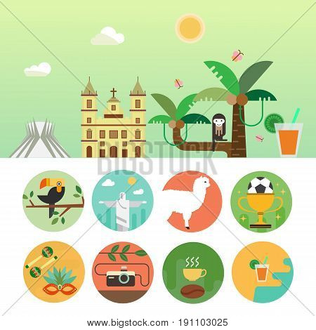 Vector illustration with Brazil symbols  made in modern flat style. Banner with Travel to Brazil concept. Flat icons arranged in circle.