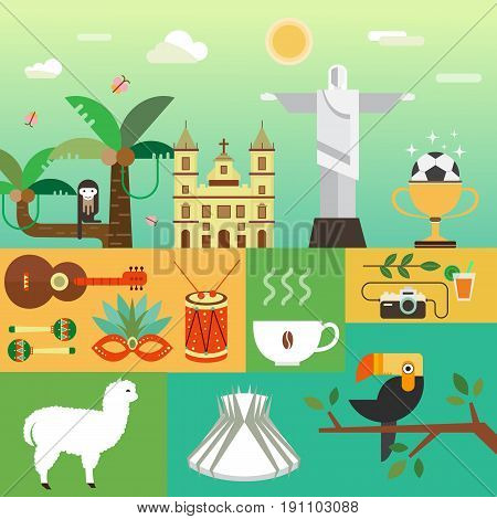 Vector illustration with Brazil symbols  made in modern flat style. Banner Travel to Brazil concept. Flat icons arranged in square.