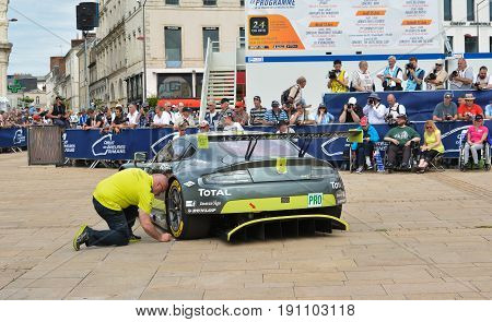 LE MANS FRANCE - JUNE 11 2017: Weighing administrative and technical checks of the race cars for competition 24 hours of Le mans. Team of Aston Martin racing car
