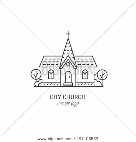 Vector logo design templates - christian church concept isolated on white.City church symbols in linear style. Religion building icon.