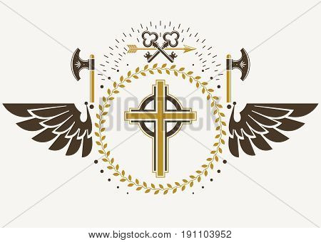 Vintage winged emblem created in vector heraldic design and composed using religious cross hatchets and security keys.