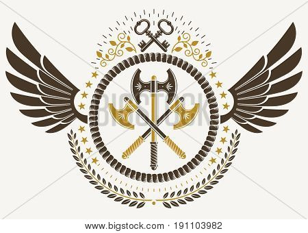 Vintage winged emblem created in vector heraldic design and composed using hatchets and security keys.