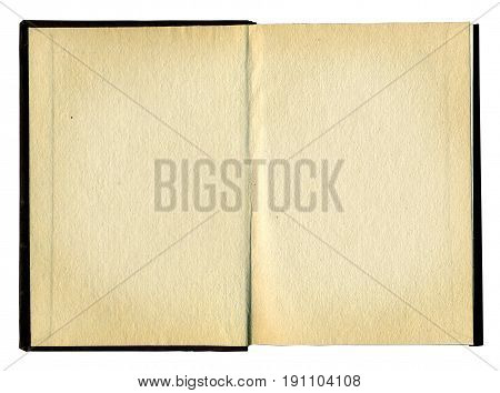 Old opened book with blank pages isolated over white