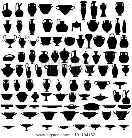 Collection ofninety four silhouettes of ancient pottery