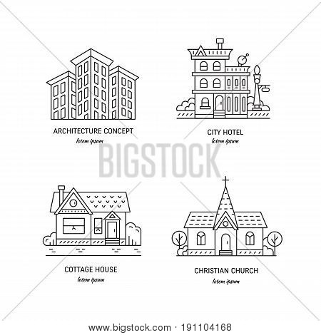 Vector design logo with city buildings. Set of  linear icons with buildings, house, hotel and churches in trendy line style isolated on white.