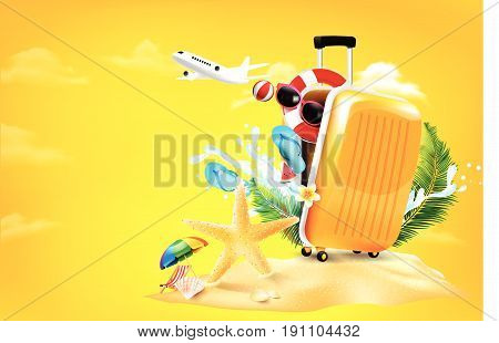 Air plane open luggage travel case with Starfish flower palm leaf sand beach element on yellow background for summer travel concept vector illustration