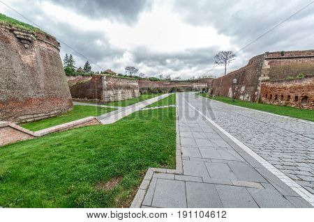 Fish eye view at inside of medieval fortress of Alba Iulia Transylvania Romania.