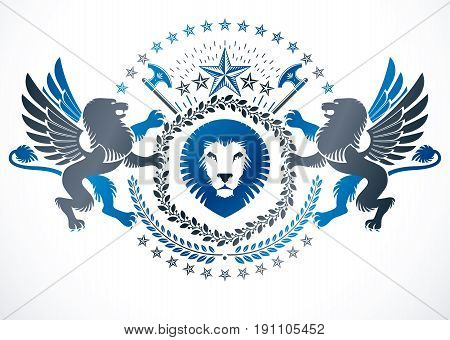 Vector emblem made in vintage heraldic design and created using winged gryphon pentagonal stars and hatchets