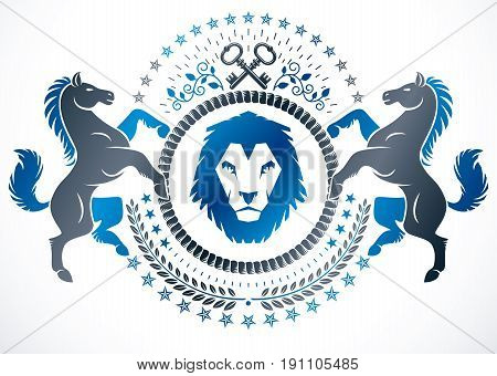 Vector emblem created in vintage heraldic design. Vector blazon composed with graceful horse illustration security keys and wild lion.