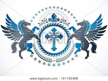 Vector emblem created in vintage heraldic design. Retro style label composed using graceful Pegasus religious cross and lily flower.