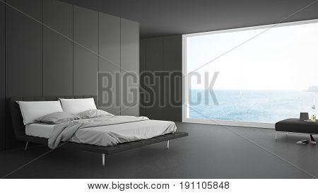 Minimalist bedroom with big window on sea panorama white and gray interior design, 3d illustration