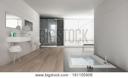 Minimalist white bathroom with bath tub and panoramic window classic interior design, 3d illustration