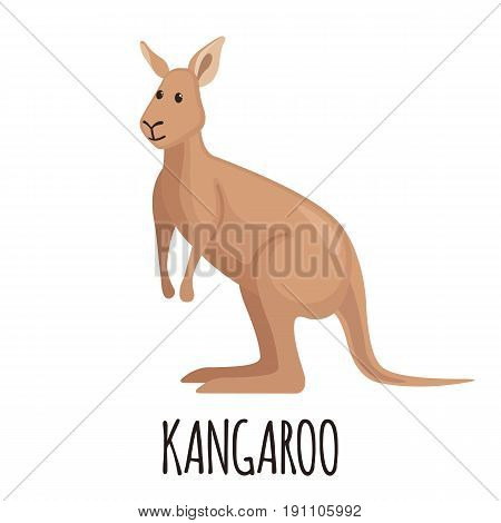 Cute kangaroo in flat style isolated on white background. Cartoon kangaroo. Zoo animal. Vector illustration.