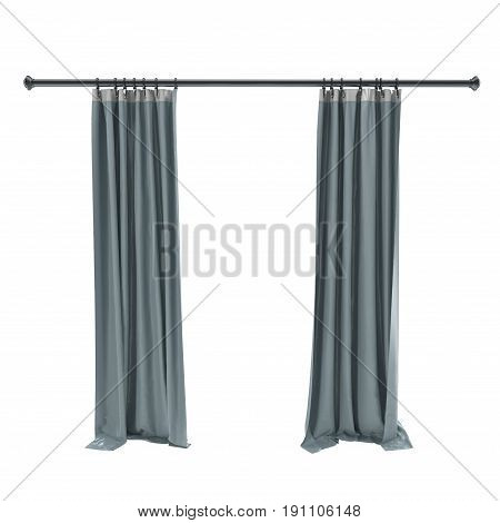 Vertical blue curtains isolated on white background. Front view. 3D illustration, clipping path