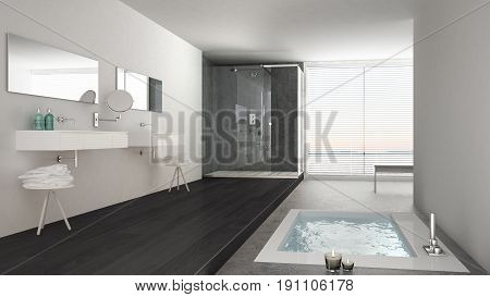 Minimalist white and gray bathroom with bath tub and panoramic window classic interior design, 3d illustration