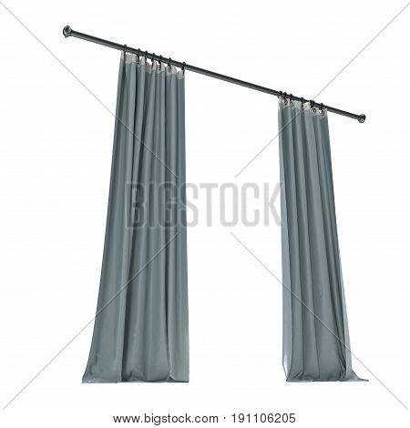 Vertical blue curtains isolated on white background. 3D illustration, clipping path