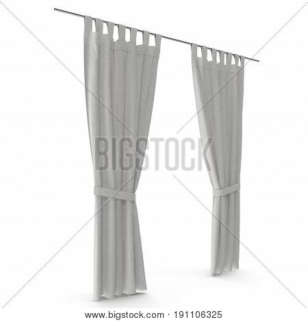 Classic warm white curtain. Isolated on white background. 3D illustration. Include path.